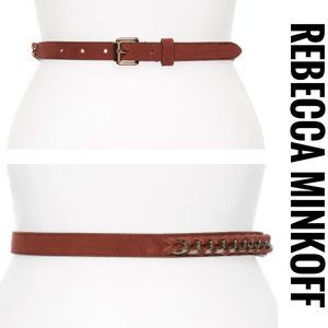 NEW Rebecca Minkoff Suede Laced Chain Belt Size S